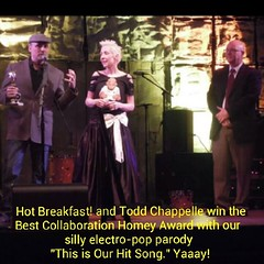 Yaaaay! Our 2nd award o' the night! Thanks to Todd Chappelle's urban street cred, we nabbed 'Best Collaboration' for our electro-pop (complete with #dubstep breakdown of course) #parody 'This Is Our Hit Song.' #HomeyAwards  Give a #listen: http://bi