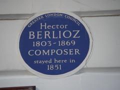 Photo of Hector Berlioz blue plaque