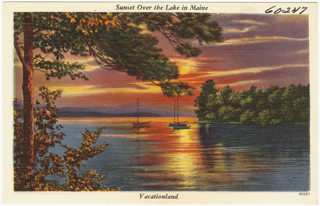 Sunset over lake in maine vacationland flickr photo for Free land maine