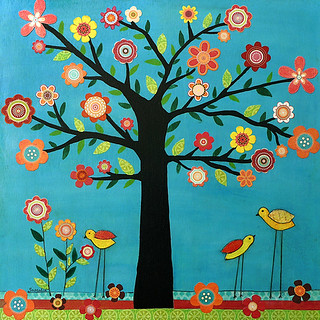Tree Flowers Birds Collage Art Painting - Sunshine by Sascalia