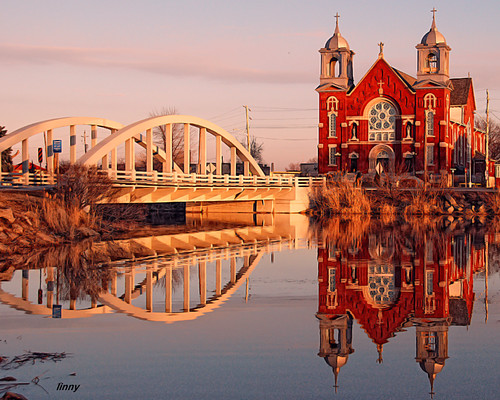 bridge ontario reflection church photoshop essexcounty border historic steeple ineffable stjosephschurch rivercanard nikond80 nikcoloreffex fccwinner mmmilikeit