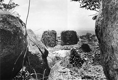 Remains of a stone-walled house at the deserted hilltop defensive site of Yagala, Sierra Leone (West Africa)