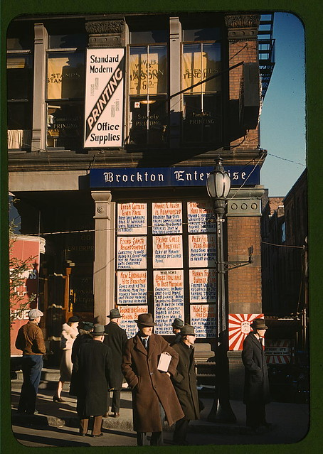 Headlines posted in street-corner window of newspaper off[ice] (Brockton Enterprise) ... Brockton, Mass.  (LOC)