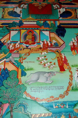 Buddha's story mural, The Elephant, snow lions, Tharlam Monastery, Bodha, Kathmandu, Nepal by Wonderlane