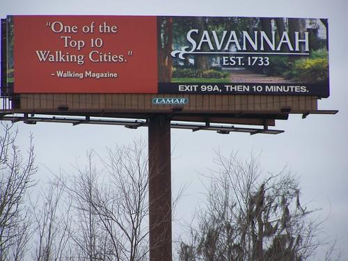 Savannah: One of the Top 10 Walking Cities billboard