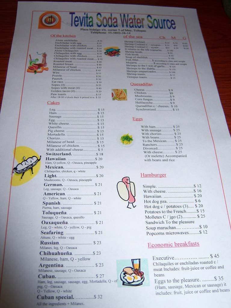 Mexican food in spanish and english for Cuisine in english