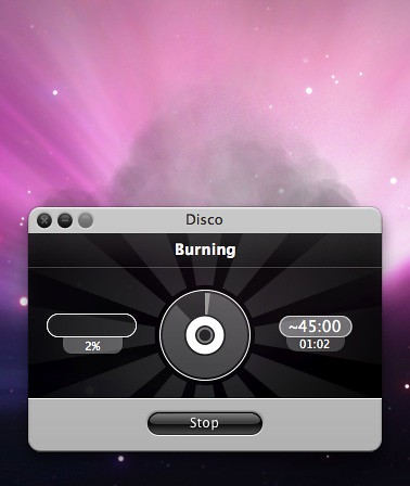Screenshot of Disco CD-burning software for Mac.