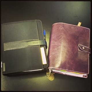 My #purple #Malden and my #black #Fusion. #agenda #calendar #diary #journal #planner #planneraddict #Organizer #productivity #filofaxlove #iloveitall #a5 #2014 #organisationer#dayrunner