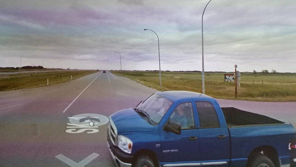 Just now I bumped into this truck from August 2013, then I flew forward to July 2014. #ridingthroughwalls #teleport #xcanadabikeride through #googlestreetview #saskatchewan