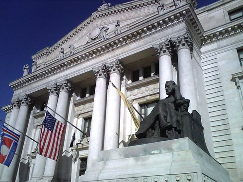 Statue outside Essex County historic courthouse Newark NJ