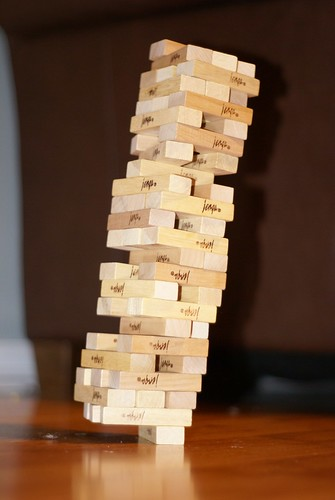 Precarious Jenga tower
