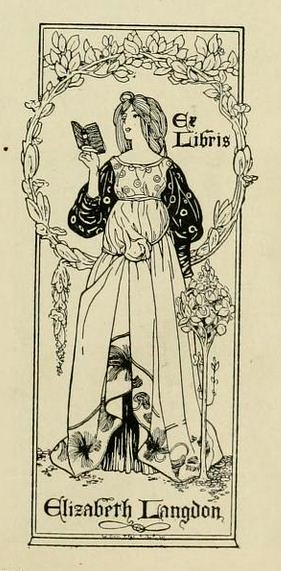 Bookplate of Elizabeth Langdon by William Edgar Fisher