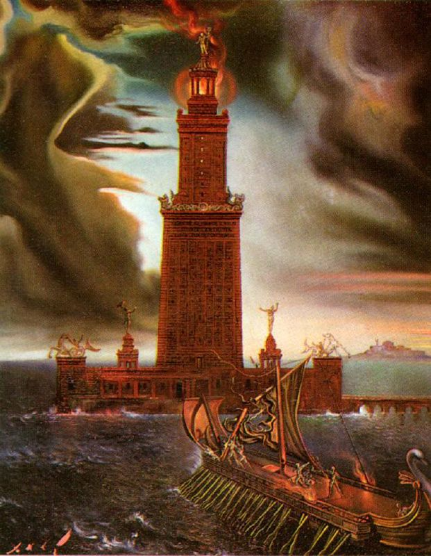 The Lighthouse at Alexandria. Pintado por Salvador Dali, 1954.