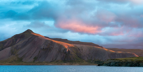 fjord iceland summer lastlight mountain sunset clouds grundarfjordur