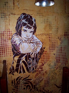 C215 - NINA (wall painting at the Stencil Show Off - Chamane Café - Paris)
