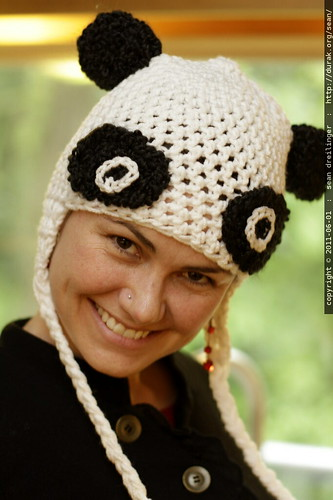 super raver panda hat crocheted by lulu rudolph