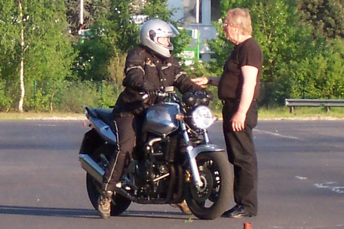 Jayne's first motorcycle lesson