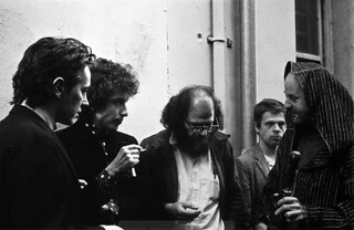 Michael McClure, Bob Dylan, Allen Ginsberg, and Lawrence Ferlinghetti. North Beach, San Francisco, 1965.