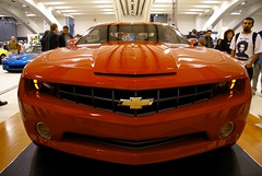 chevrolet, automobile, automotive exterior, exhibition, vehicle, automotive design, auto show, grille, bumper, land vehicle, chevrolet camaro, sports car,
