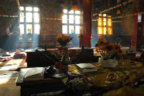 atmosphere of a Tibetan monastery .... Tharlam Monastery shrine room at break, light filtered by incense, with western Tibetan Buddhist student reading, Bodhisattva Vows day, Boudhanath, Kathmandu, Nepal