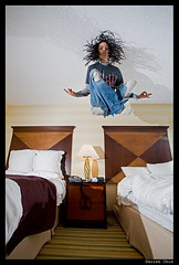 Me levitating in my hotel room
