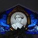 Blue angel children, portrait of a woman - stained glass window by Monceau