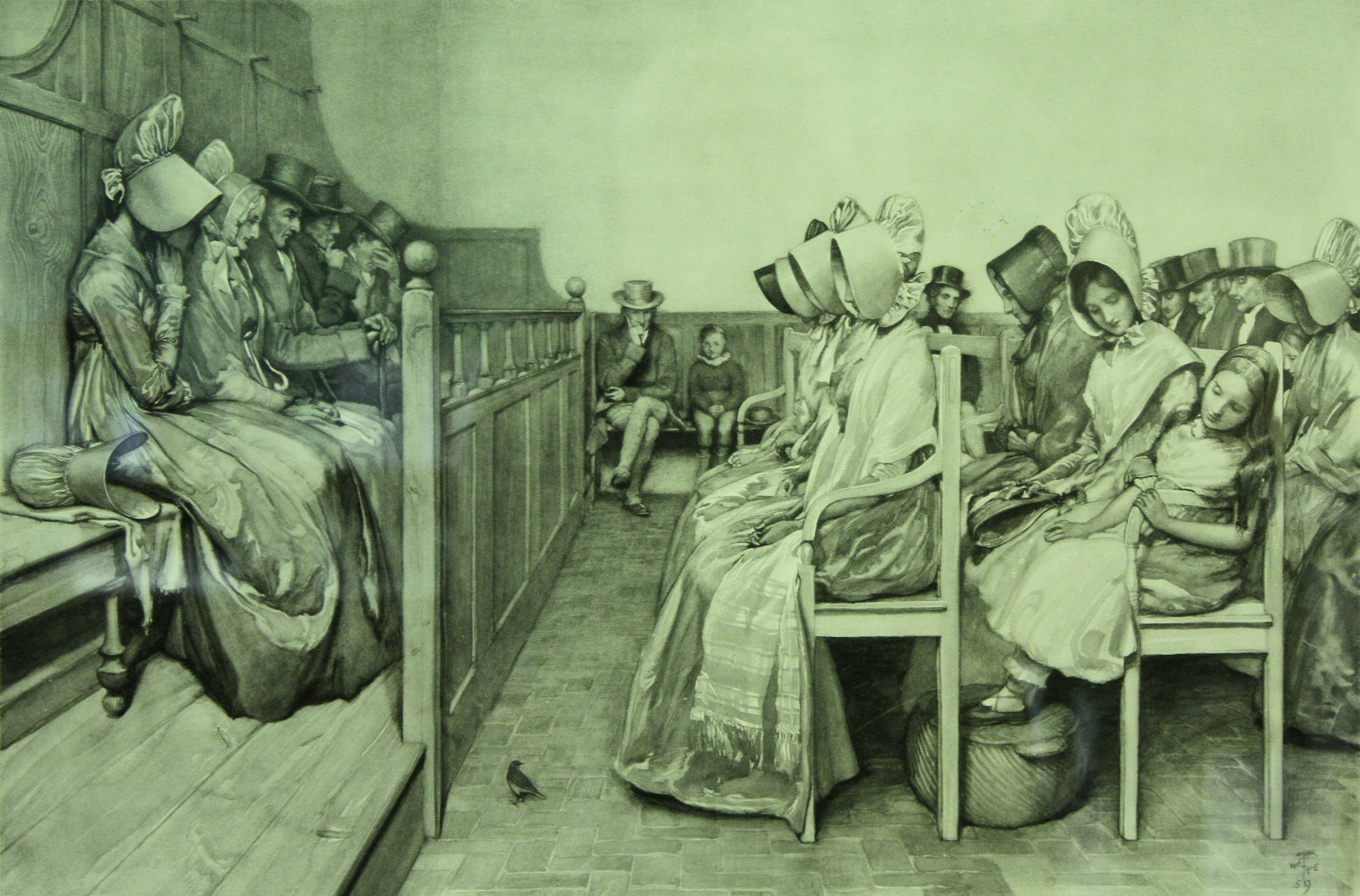 engraving of Quaker women in plain dress worshiping