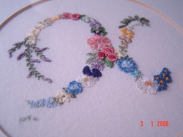 Embroidery initial k this was the first flower