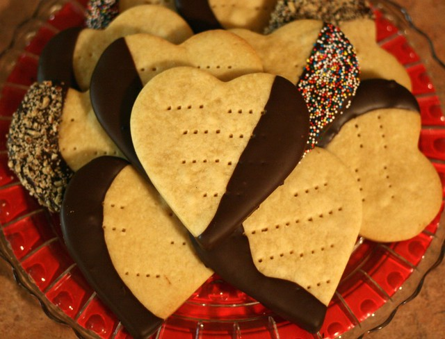 Chocolate-Dipped Shortbread Heart Cookies | Flickr - Photo Sharing!