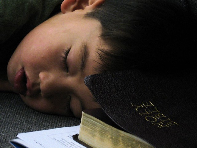 Sleeping on the pew
