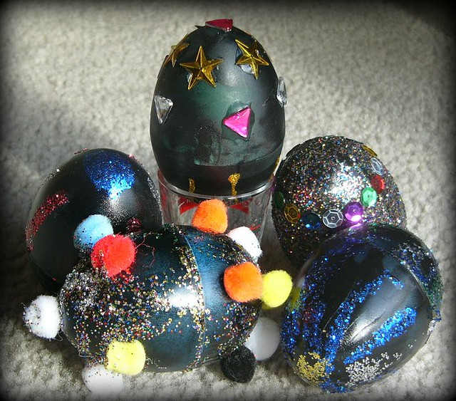 Faberge eggs 3 plastic easter eggs decorated to look like