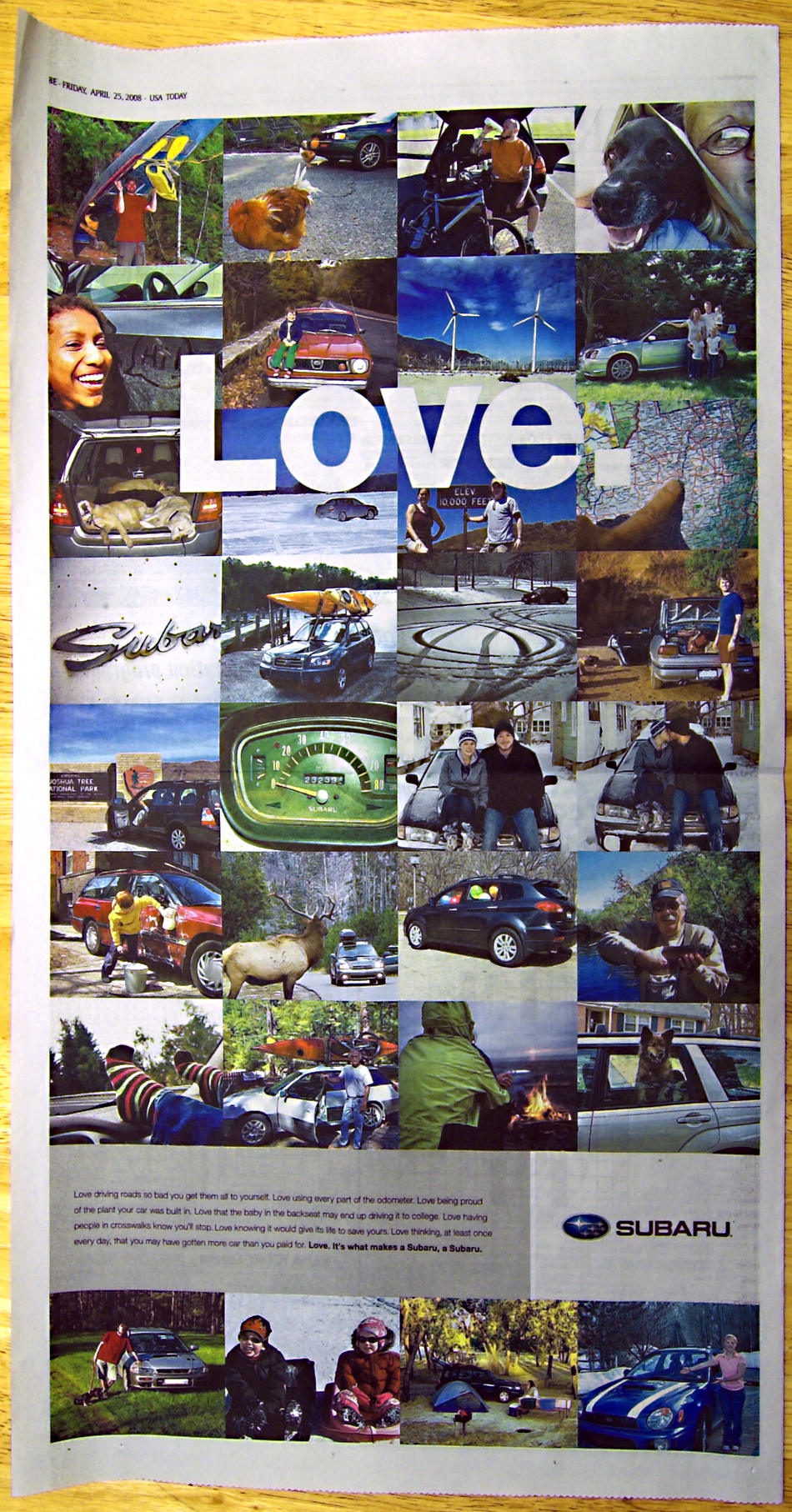 what makes the love in a subaru creative brief re engineering ads on the edge. Black Bedroom Furniture Sets. Home Design Ideas
