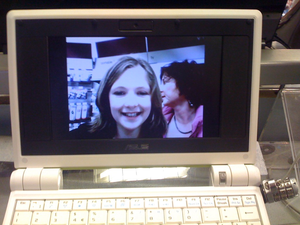 Self portraits on an eee pc at Dixons, Gatwick airport | Flickr