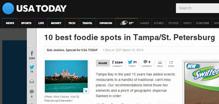 USA Today - Top 10 Foodie Spots in Tampa/St. Petersburg