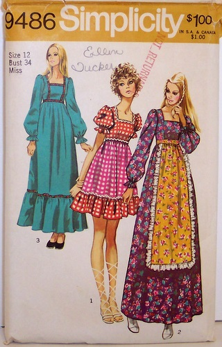 Vintage Simplicity pattern 9486 70's Boho Dress Short and Long Maxi WITHOUT APRON Size 12