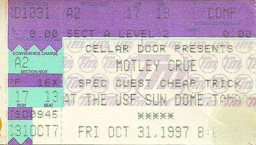 Troy's Tickets (10-31-97 Motley Crue/Cheap Trick @ Tampa, FL)