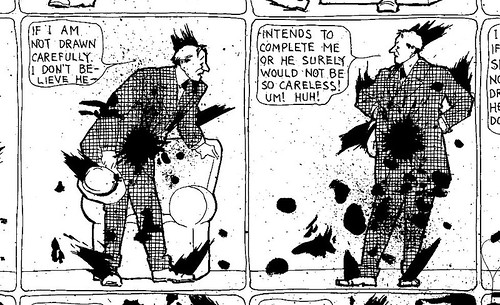 Gradually being destroyed by ink blots, a character talks to his creator (#277, March 30, 1907).