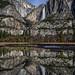 Yosemite Falls Moonlit Night Reflection by Jeffrey Sullivan