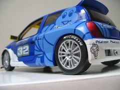 renault clio v6 renault sport(0.0), family car(0.0), race car(1.0), model car(1.0), automobile(1.0), automotive exterior(1.0), vehicle(1.0), automotive design(1.0), rallycross(1.0), subcompact car(1.0), city car(1.0), world rally car(1.0), hot hatch(1.0), land vehicle(1.0), sports car(1.0),