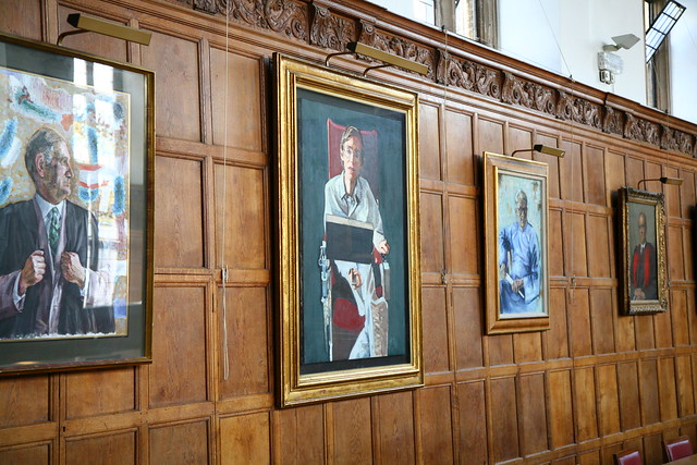 Stephen Hawking portrait Gonville and Caius dining hall