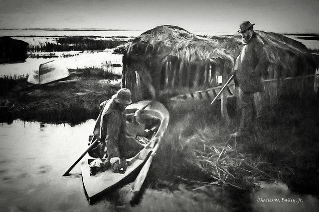 Digital Charcoal Drawing of a Bird Hunter in the Norfolk Broads by Charles W. Bailey, Jr.