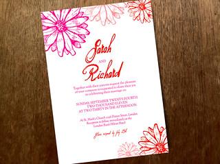 Printable Wedding Invitation - Hot Daisy