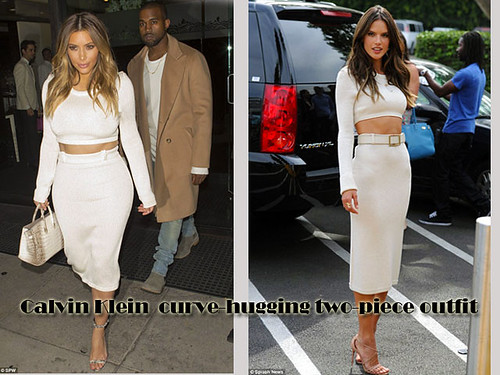 Who wore The Calvin Klein cropped top & pencil skirt better? Kim Or Alessandra
