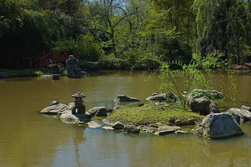 lake garden japanese spring pond birmingham rocks alabama lantern botanicalgardens