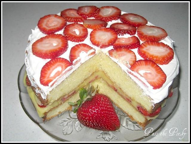 Strawberry Vanilla Pudding Cake