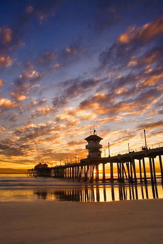 ocean california sunset shadow sea sky sun beach clouds coast pier sand waves huntington shore brianknott forgetmeknottphotography fmkphoto