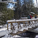 Skiing over Bridge on Kolapore Ski Trail