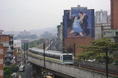 Medellin's sparkling Metro and Botero billboard behind