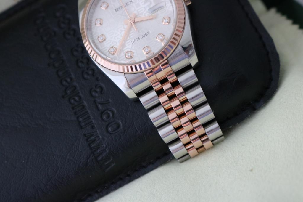 Bán đồng hồ rolex datejust 6 số 116231 – mặt vi tính xoàn – đè mi vàng hồng – size 36