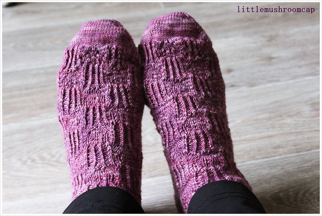 Pair of hand knit socks _ worn